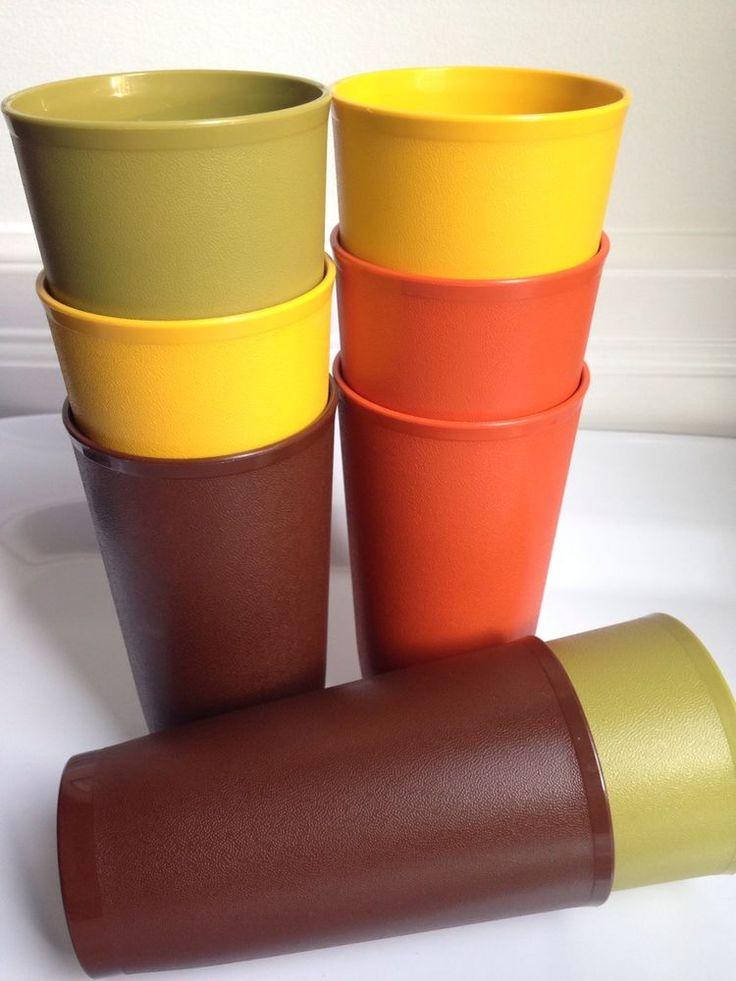 Vintage Tupperware 12oz Cups, Harvest Colours, Set of 8