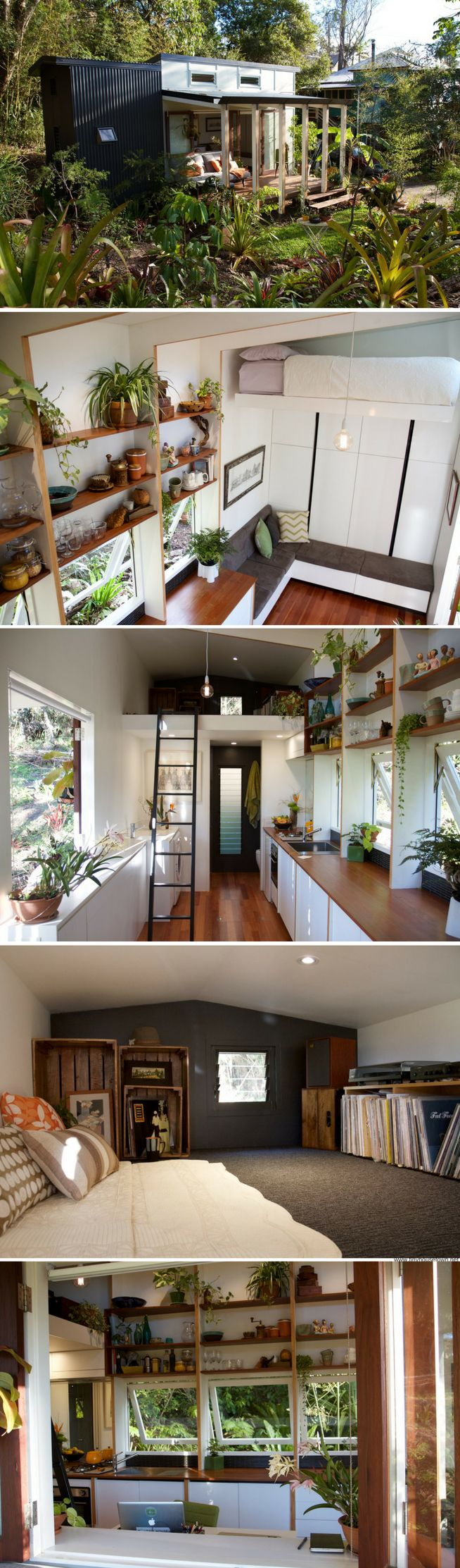 A gorgeous Australian tiny house the a retractable bed that lowers from the ceiling! Another awesome built in bench idea!