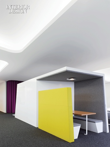 Semi-Private meeting room with color blocking