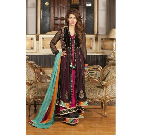 Pakistani Designer Dresses UK - Lowest Prices - Fancy Black Formal Dress by Exclusiveinn Stitched £115 - Latest Pakistani Fashion www.iluvdesigner.com Available in Small, medium and Large