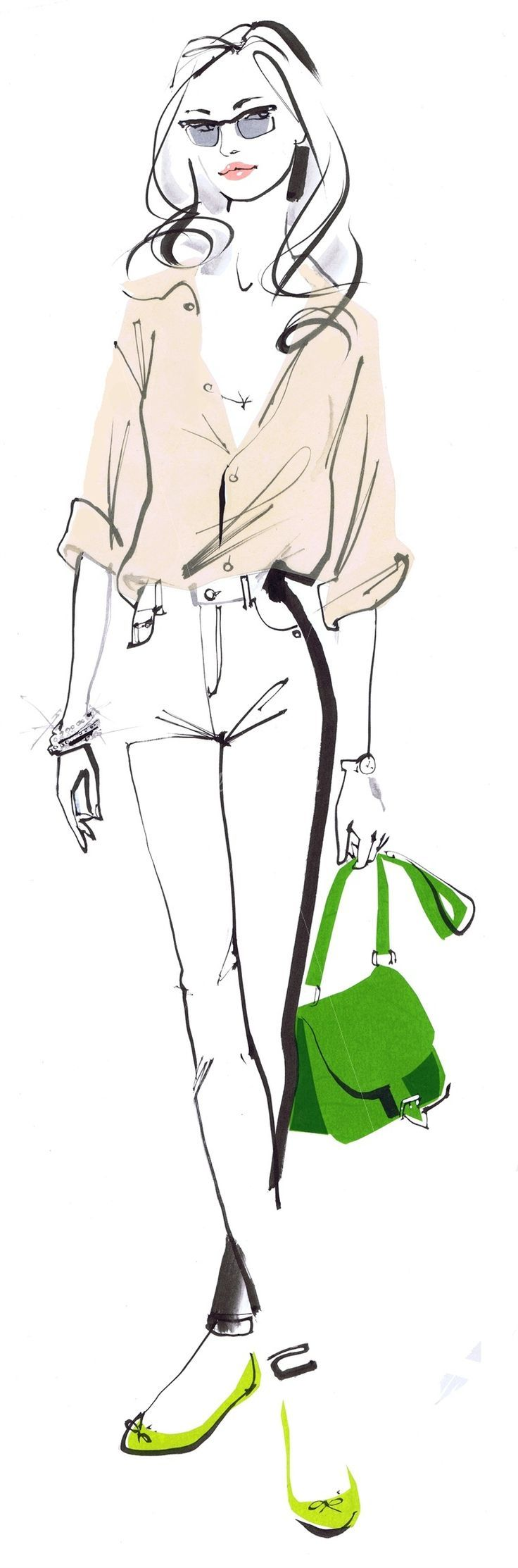 Fashion lady holding a bag - An illustration by Jacqueline Bissett