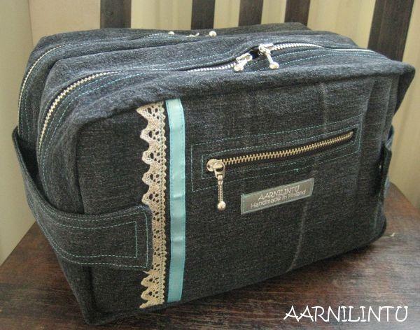 Aarnilintu: Meikkipussi farkuista - Beauty bag from old jeans