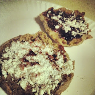 ... snack: Grape jelly and goat cheese on a multigrain english muffin