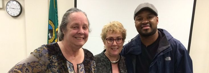 Tacoma Support Group 2015 - ADDR Director Meg McDonald flanked by group facilitators Brandon Rowe and Joan Jager
