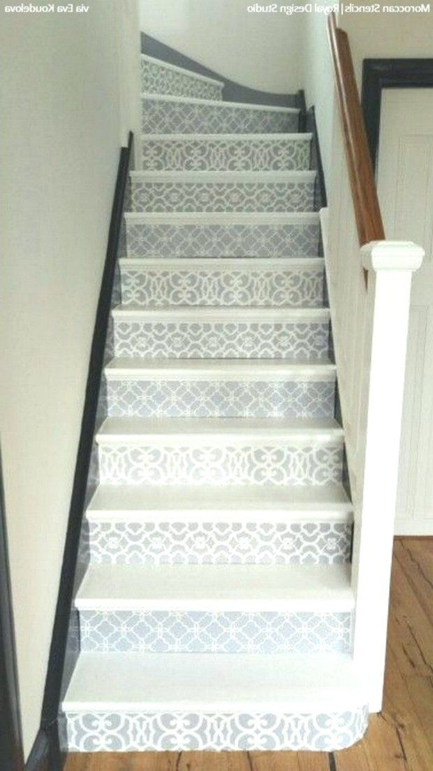 Simple To Sensational 12 Stencil Ideas For Your Stairs Painted Stair Risers U Ideas Painted Painted Stairs Painting Tile Floors Painted Stair Risers