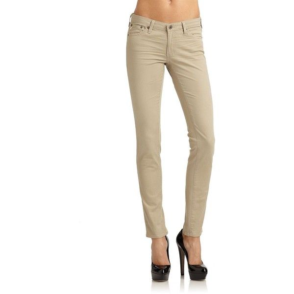 AG Adriano Goldschmied The Legging Super Skinny Khaki Pants ($84) ❤ liked on Polyvore