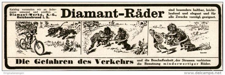 Original-Werbung/Inserat/ Anzeige 1914 - DIAMANT FAHRRÄDER - ca. 210 X 70 mm