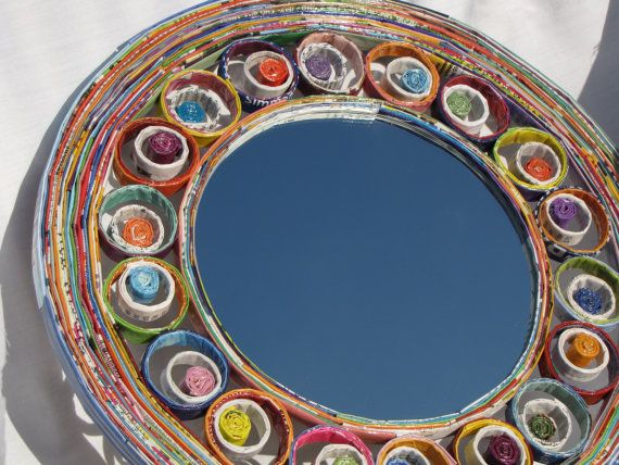 Wall mirror framed with recycled paper and paper coils - Decorative wall mirror via Etsy
