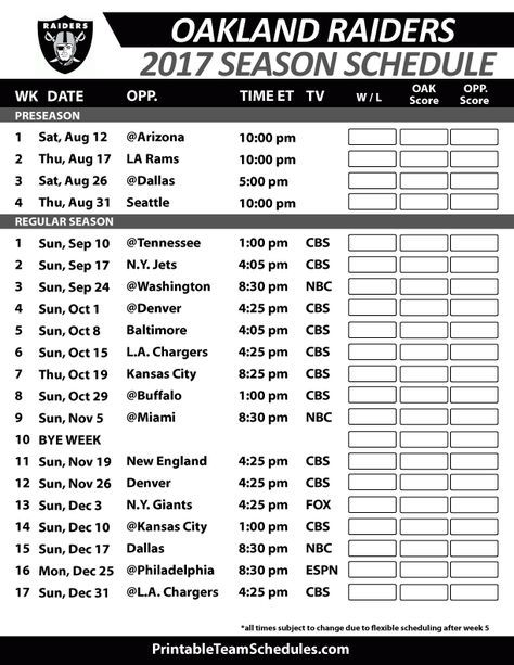 Oakland Raiders Football Schedule 2017