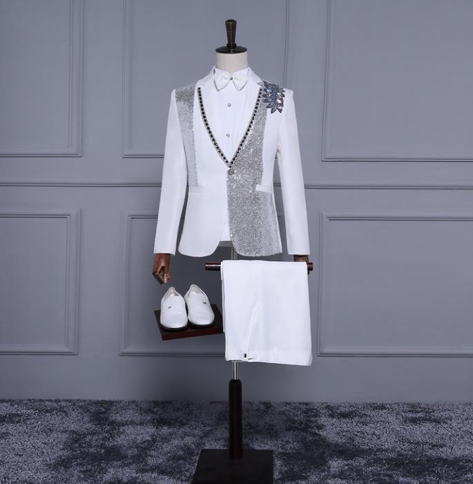 >> Click to Buy << White sequins blazer men formal dress suit men costume homme stage chorus dance marriage wedding suits for men's new arrival #Affiliate