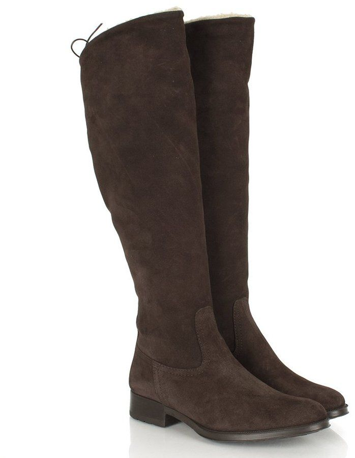 Lamica Brown Suede Women's Flat Knee Boot on shopstyle.com.au