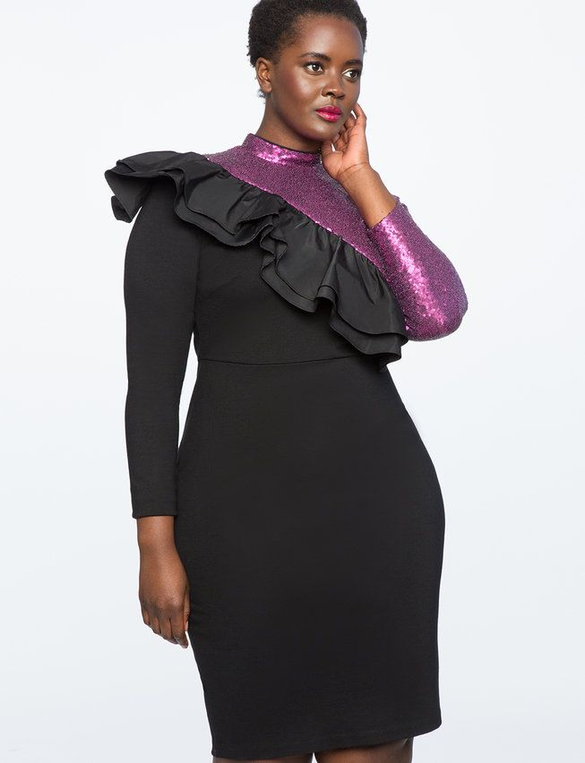 Long Sleeve Sequin Dress With Ruffle Womens Plus Size Dresses