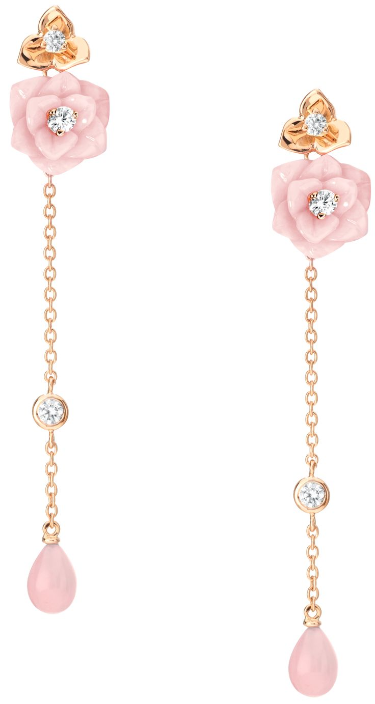 "Piaget collection ""Rose Passion"" Earrings in rose gold, opal and diamonds"