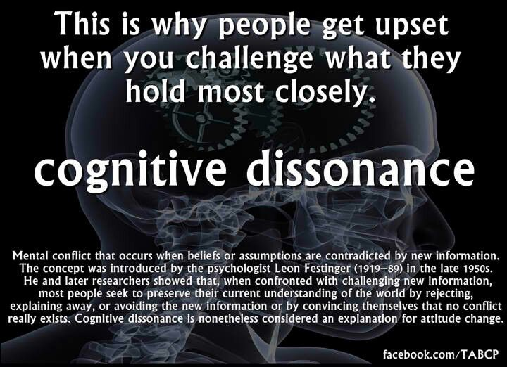 Cognitive dissonance ex.= challenging religion with facts.