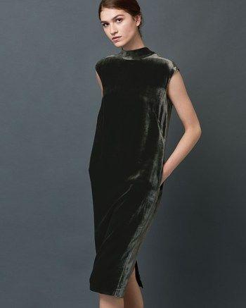 Women's Silk Velvet Column Dress