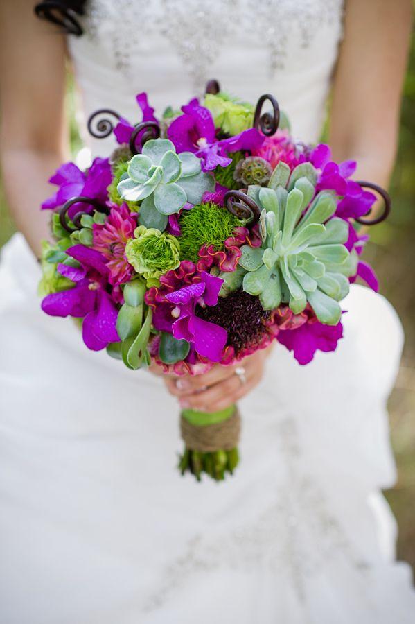 Succulent Bridal Bouquet  Purple wedding flowers