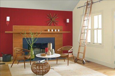 Look at the paint color combination I created with Benjamin Moore. Via @benjamin_moore. Wall: Caliente AF-290; Side Wall: Jonesboro Cream 241; Trim: Jonesboro Cream 241; Ceiling: Horizon Gray 2141-50.