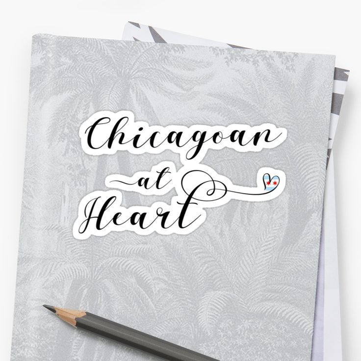 #Chicagoan At Heart stickers. Whether you are Chicagoan or live in Chicago, have family or friends in Chicago, or if you just love everything to do with the great city of Chicago! This stylish script design features a little heart with the city of Chicago flag. These die-cut stickers are available in different sizes, and are great for sticking on your laptops, windows, journals, or indeed pretty much any clean, smooth surface!