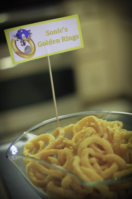 Sonic Birthday Party. Sonic Snacks: Golden Rings