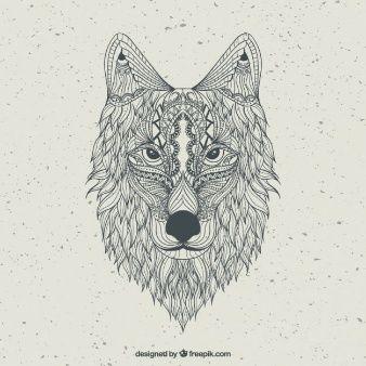 abstrato tirado mão lobo