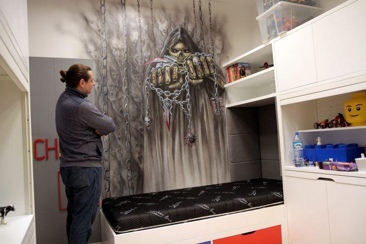 Malowanie kostuchy w pokoju młodzieżowym, mural skull, artystyczne malowanie ścian, czaszka, mroczny mural, Czaszka, malowanie czaszek