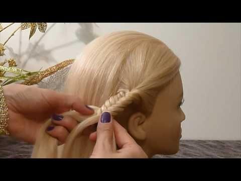 Косичка Рыбий хвост.Причёска с плетением для средних/длинных волос самой себе.Причёски в школу - YouTube