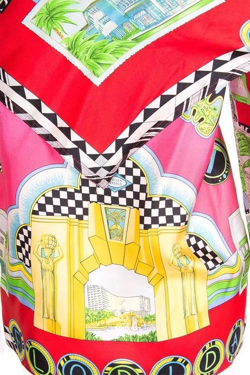 Gianni Versace Vintage 1990s Miami Print Pink Silk Scarf Shirt Top 7