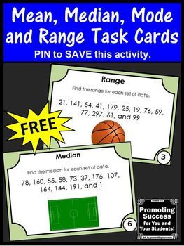 FREE Mean Median Mode Range Task Cards 5th 6th Grade Math Games and Activities
