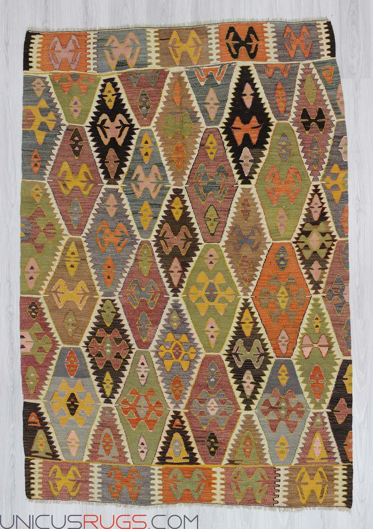 "Vintage kilim rug from Antalya region of Turkey.In very good condition.Approximately 50-60 years old. Width: 5' 5"" - Length: 8' 0""  Colorful Kilims"