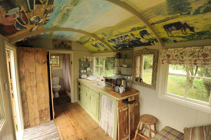 Shepherd hut interior beach huts pinterest for Beach hut designs interior