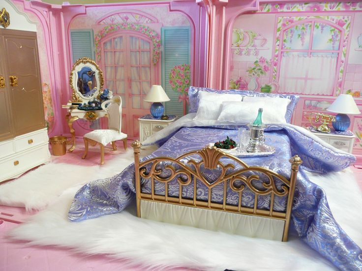 Ooak barbie bedroom house furniture diorama lot wardrobe vanity bed lamps  rug. Best 25  Barbie bedroom ideas on Pinterest   Barbie room  Pink