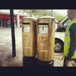 Golden postboxes to mark Milton Keynes Greg Rutherford wining gold!!!