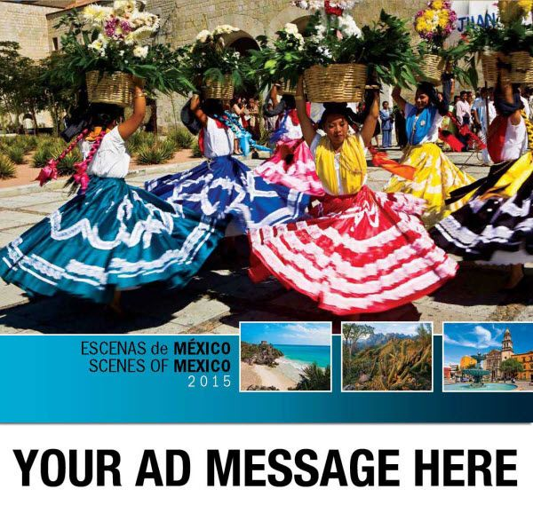 2015 Spanish-English Promotional Wall Calendars - Scenes of Mexico  Spanish-English Bilingual Scenic Mexico Calendar  Your Escenas de México Calendario feature 13 striking images that attest to the diverse land of ancient monuments, rugged mountains, lush foliage, tropical beaches and breath-taking vistas. Spanish-English Bilingual.  Personalize your Bilingual Mexico Scenic Calendar with your Company, Orgnaization or Event Name, Logo and Message for as low as 65¢!