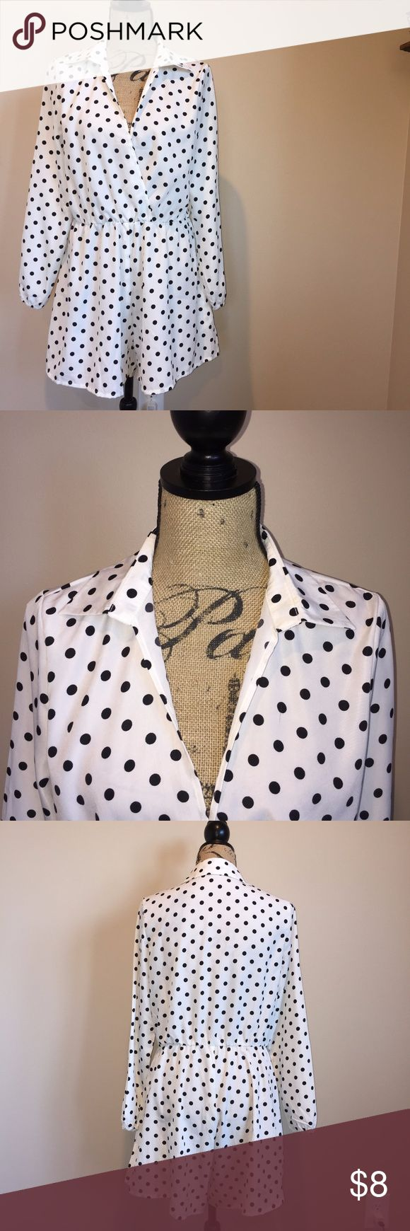 - polka dot romper - a white romper with black polka dots. you'd need to wear something underneath because it is a little see through. Pants Jumpsuits & Rompers