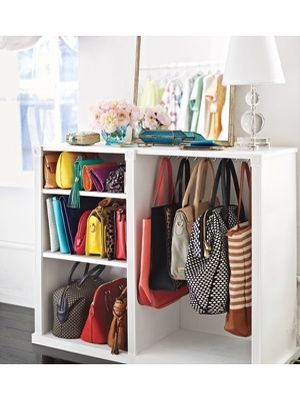 Paint  Reuse An Old Dresser In A New Way...to store all your handbags! Hang the larger ones on hooks and use shelves for the clutches.