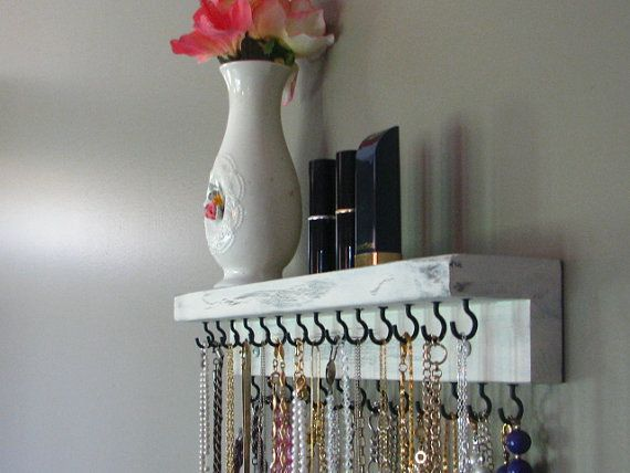 Jewelry Storage at etsy.com. Love this idea - could make wider for purse storage on top.