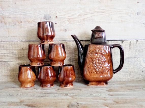 Vintage Ceramic Wine Set Set of Decanter and 6 Mugs