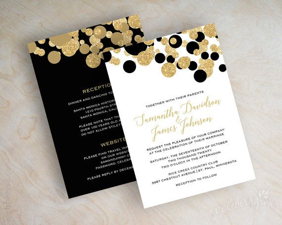 Black and gold polka dot wedding invitations by appleberryink