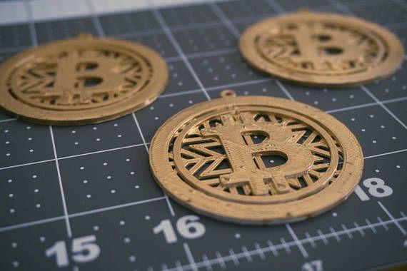Gold 3D Printed Bitcoin Christmas Ornament