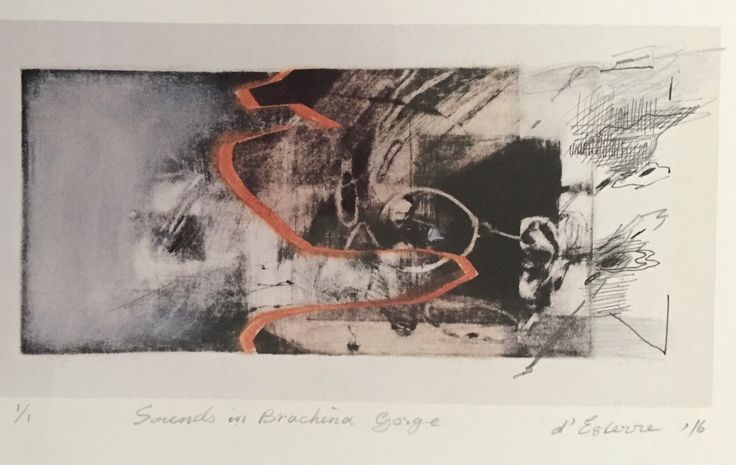 ELAINE d'ESTERRE - Sounds in Brachina Gorge', 2016, intaglio and chine-colle print with pen and ink by Elaine d'Esterre at http://elainedesterreart.com and http://www.facebook.com/elainedesterreart/ and http://instagram.com/desterreart/