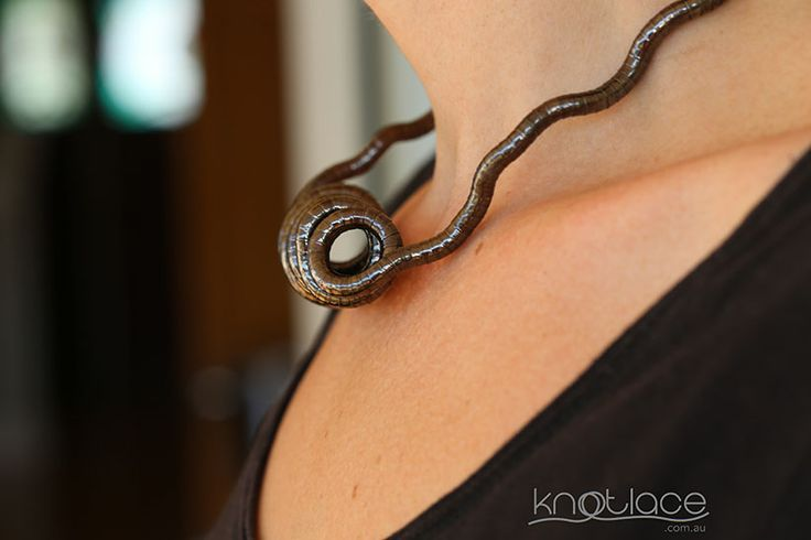 Knotlace or bendy necklace gunmetal 5mm width - http://knotlace.com.au/ #style #fashion #accessory #jewellery