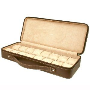 """Tech Swiss TS5851BRN Leather Watch Box Extra Large Watch Case Tech Swiss. $84.70. Exceptional quality leather watch case in rich brown with white stitching and handle. Xl wide compartments to hold large watches (fits watch cases up to 59mm). Case dimensions: 20"""" l x 8"""" w x 3 1/4"""" h. High clearance to fit oversized timepieces. Extra large watch box for 16 timepieces briefcase design. Save 39%!"""