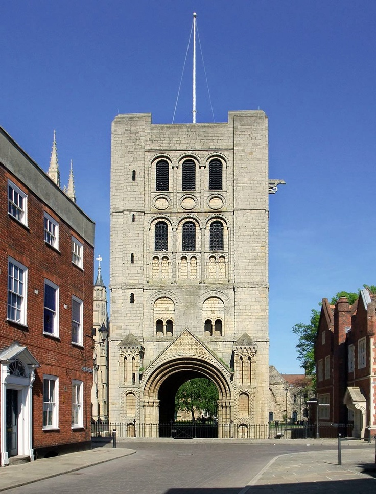 Norman gate and bell tower at Bury St. Edmunds, Suffolk, England