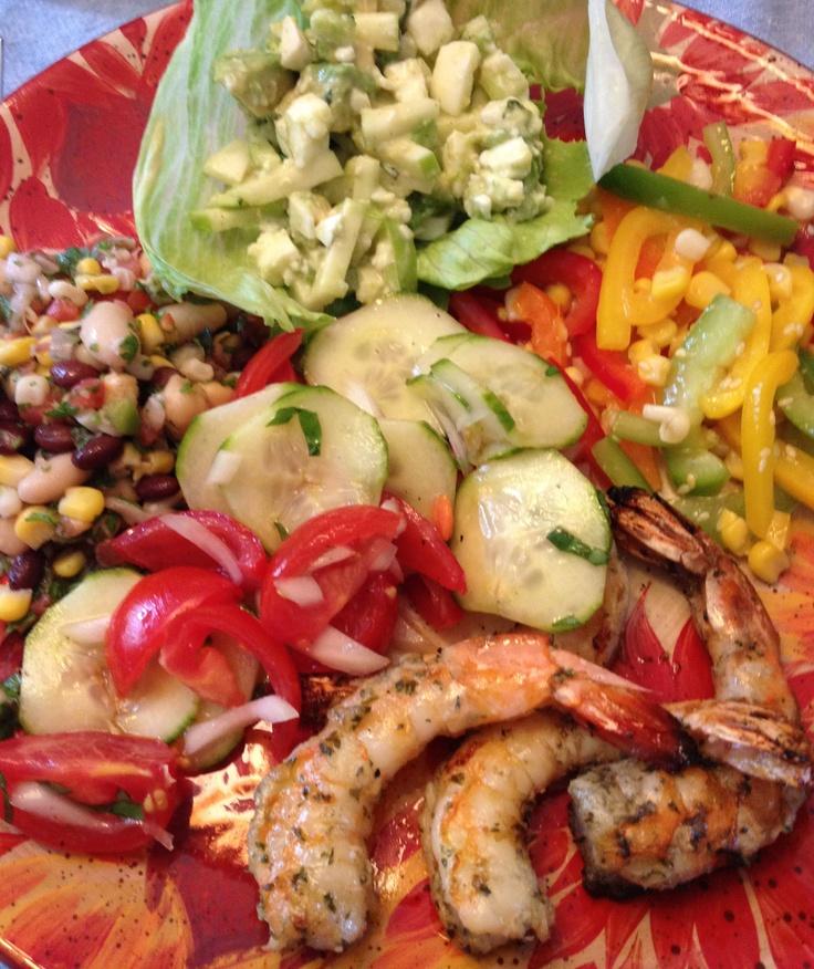 - Cucumber Tomato Salad with fresh basil & onion, rice vinegar, oil ...