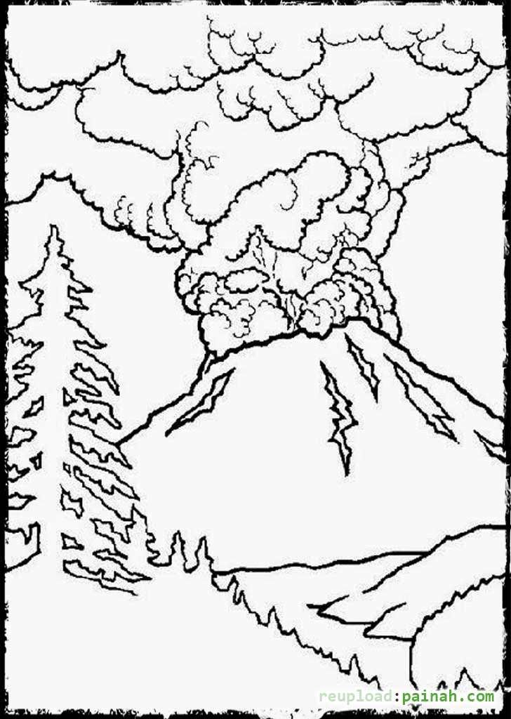 Hawaii Volcano Coloring Page Coloring Pages Dinosaur Coloring Pages Volcano