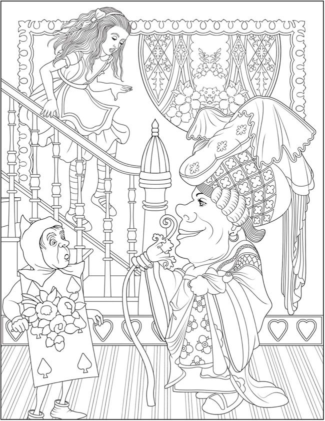 creative haven alice in wonderland designs coloring book dover publications