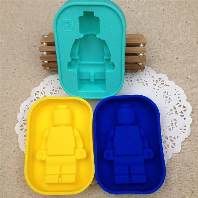 DIY Fondant Herramientas de decoración de Pasteles 100% de Silicona de Grado Alimenticio Molde de Lego Super Gran Robot Lego Molde de La Torta Molde Del Hielo Del Molde Para Hornear D897