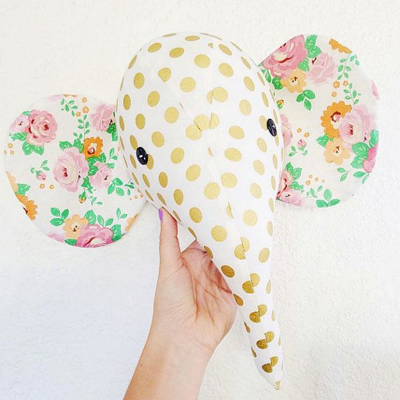 Elephant plush wall mount, whimsical nursery decor, faux taxidermy, made to order