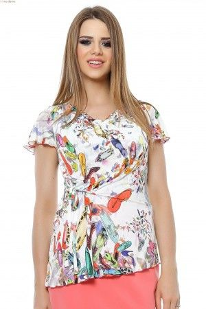 Bluza tricot imprimat cu gusa, asimetrica cu siret lateral.