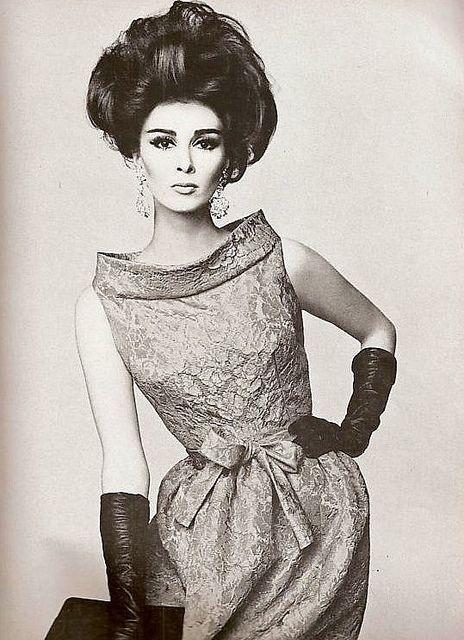 Wilhelmina Cooper wearing Pierre Cardin.Vogue,December 1962.